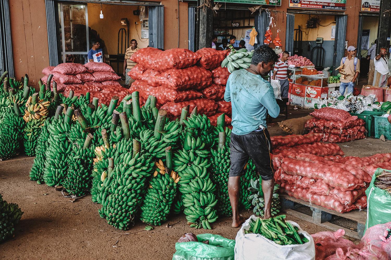 Vendeurs de bananes et d'oignons rouges