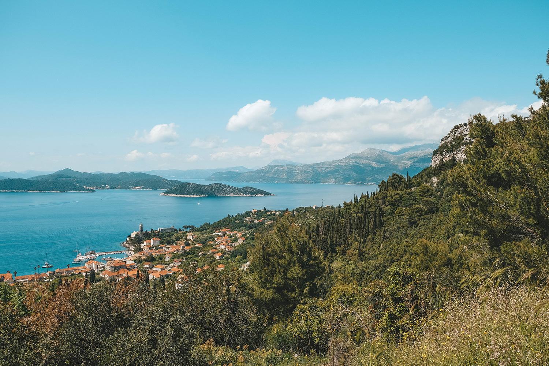 La vue depuis les hauteur de l'île de Lopud