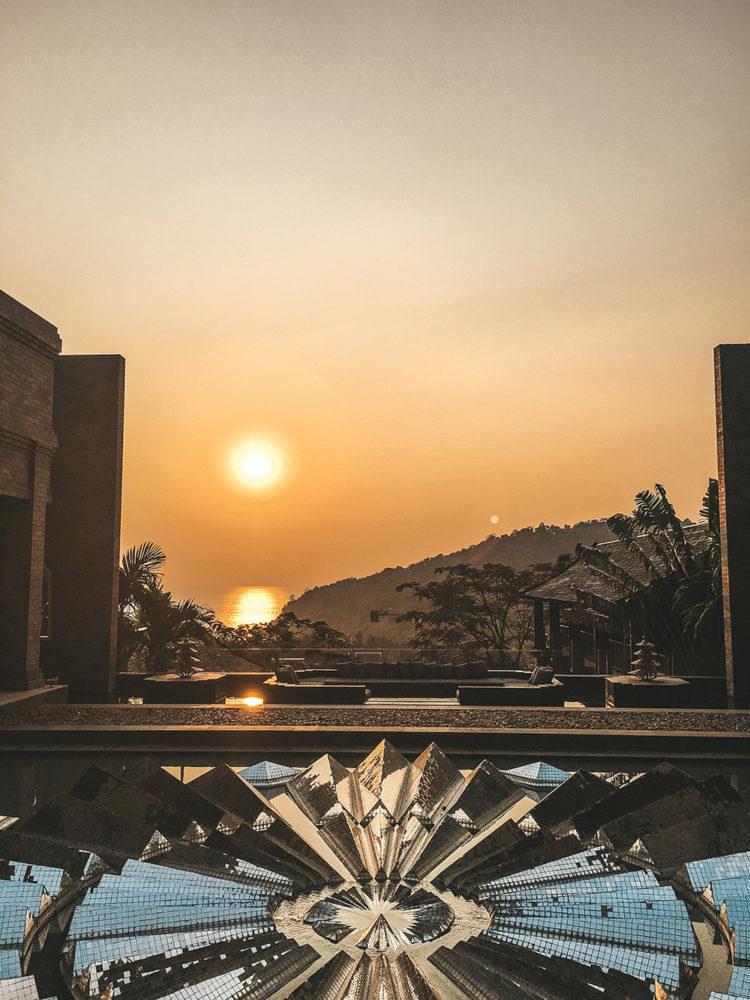 Vue du coucher de soleil depuis notre hôtel