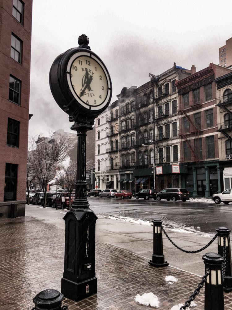 L'horloge du Roxy Hotel à Tribeca