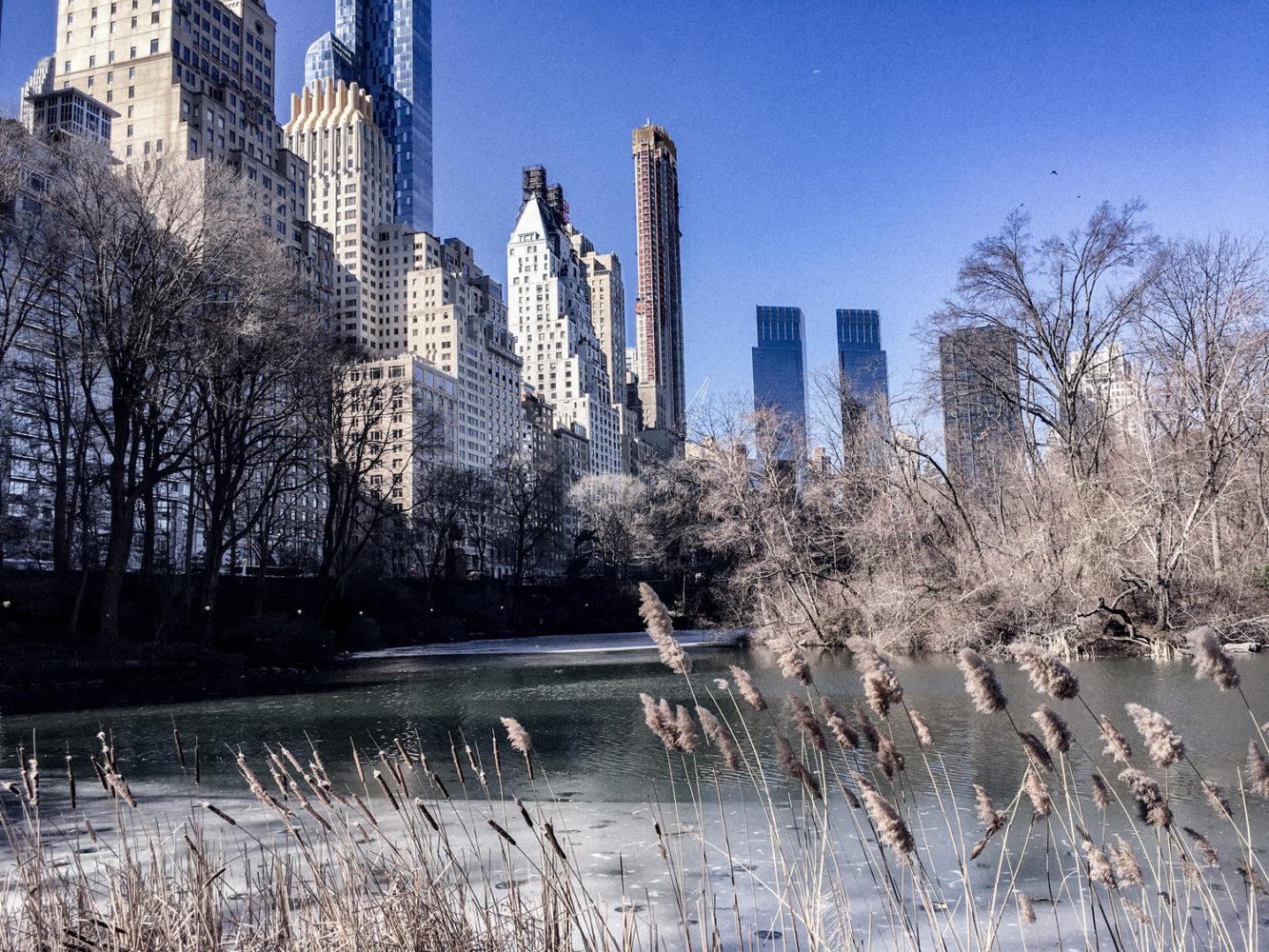 La vue sur le lac et les buildings depuis Central Park