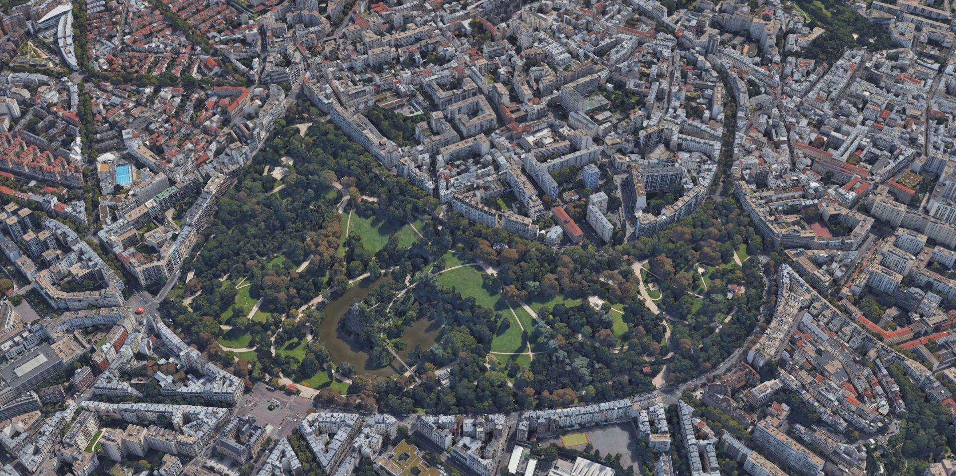Vue aérienne sur le Parc des Buttes-Chaumont © Google Earth